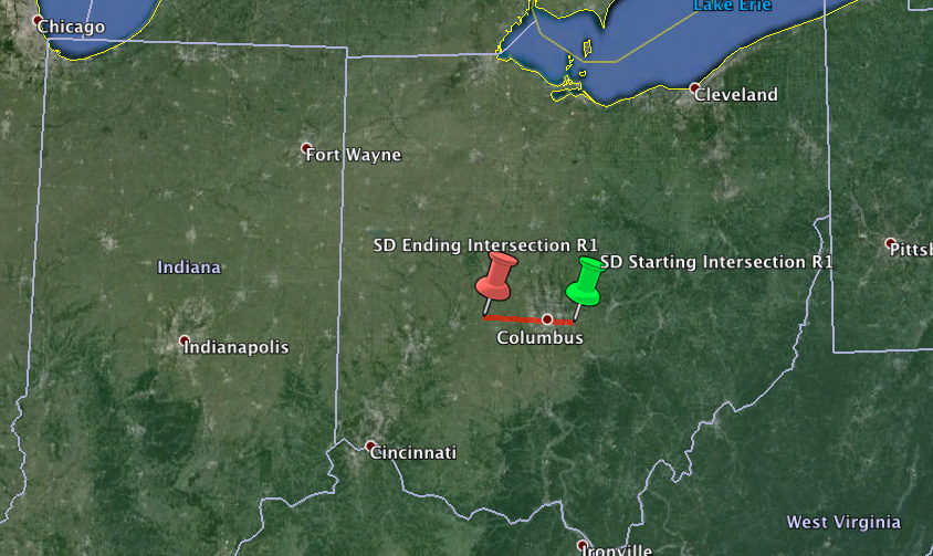 Trajectory For Ohio Fireball Meteor - September 27th, 2013 @ 11:30 PM Local Time