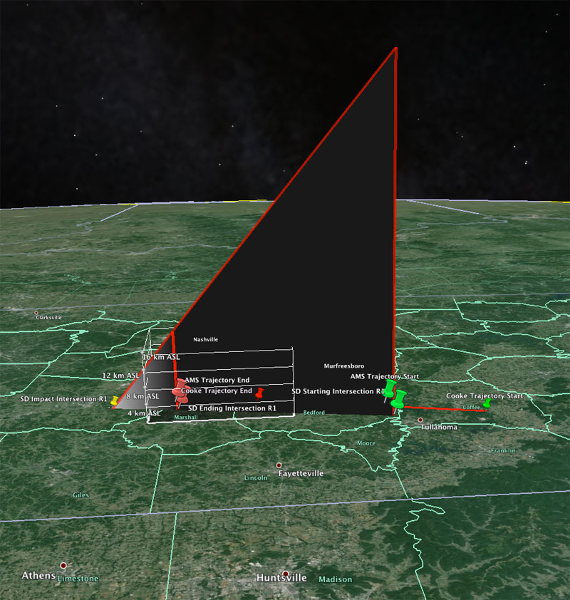 3D Model of Fireball Trajectory Computed From AMS Witness Reports